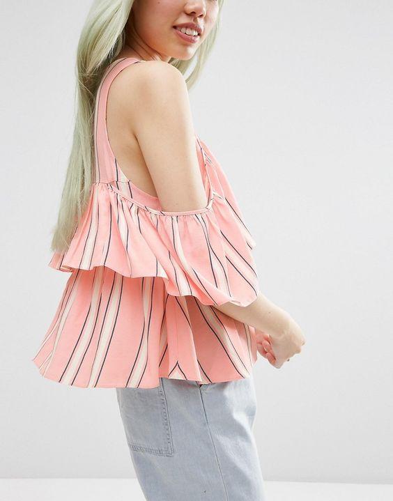 Imagem 3 de ASOS camadas Fria Shoulder Top Em Stripe