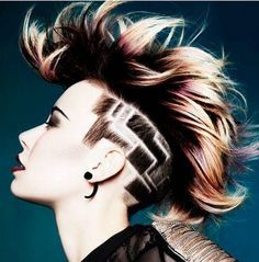 love the design and color, can't tell if she has bangs like me or not, I think hers is a complete undercut.