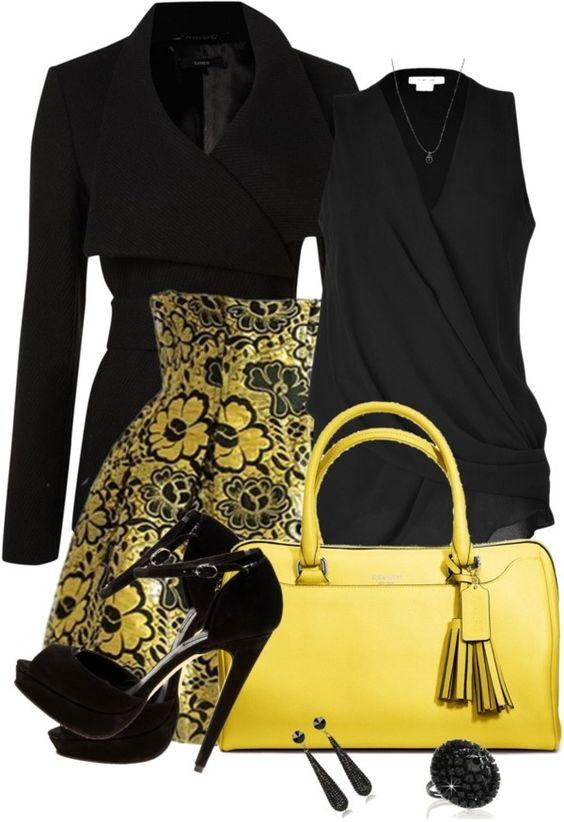 La Yellow Touch Black & Yellow, Veste noire, Chemisier drapé, Jupe taille haute jaune et noire, sac jaune: