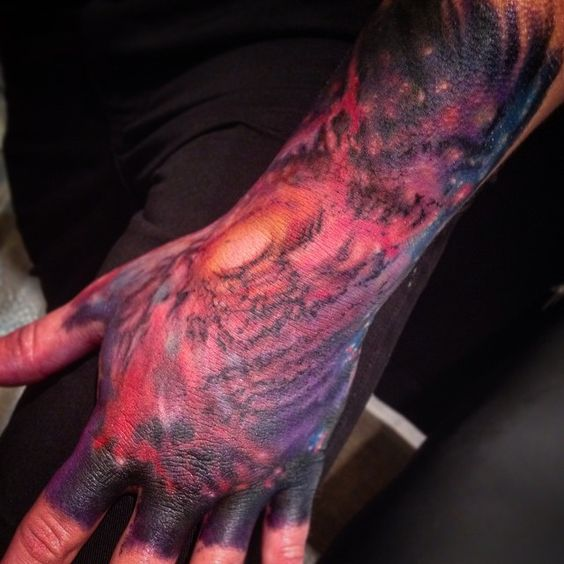 Galaxy on the hand done at #TorontoTattooConvention. #spacetattoos #arcaneink #fusionink #ems420 #nolovelost #Bowmanville #tattoos