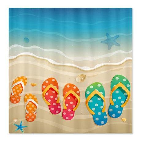 Curtains Ideas beach shower curtain : Beach Shower Curtain, for the girls' bathroom. | bath and things ...