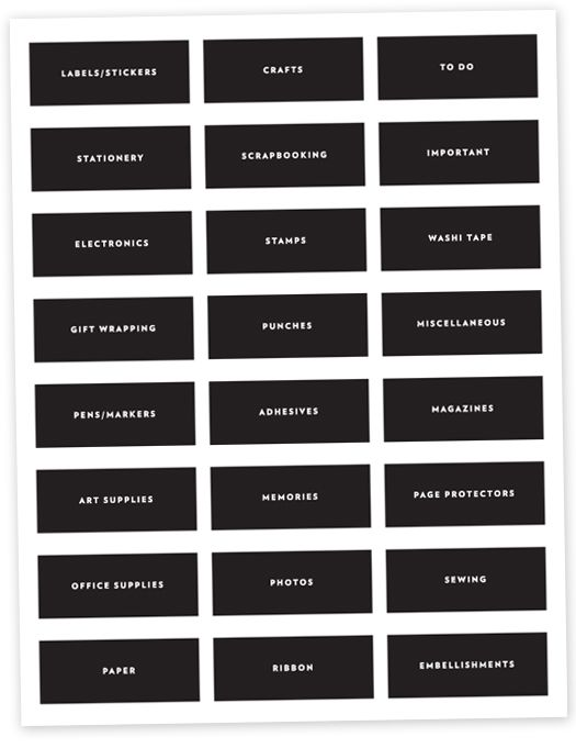 Free download organization labels for the craft room for Room labels