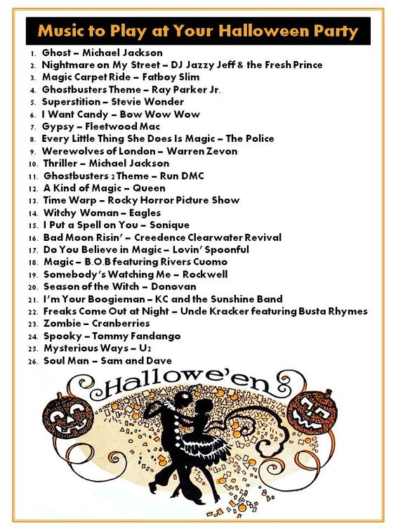 halloween playlist ideas 2017