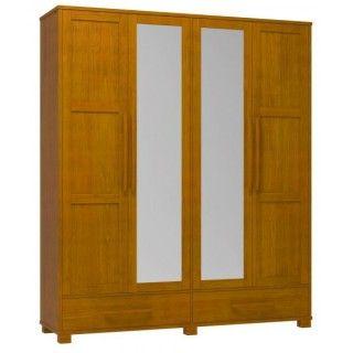 Guarda Roupa 4 Portas e 2 Gavetas com Espelho Cor Teca Madeira Maciça Pinus Linha Perla - Dactylo Móveis de Madeira Maciça
