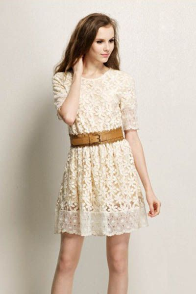 Elegant O Neck Half Sleeves White Lace Waist Skirt Mini Dress