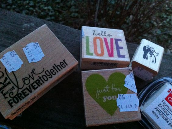 $.25-$.50 each. Rubber stamps