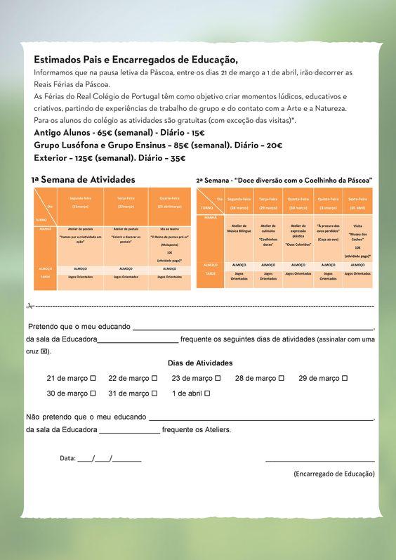 Programa Reais Férias da Páscoa - Pré-Escolar