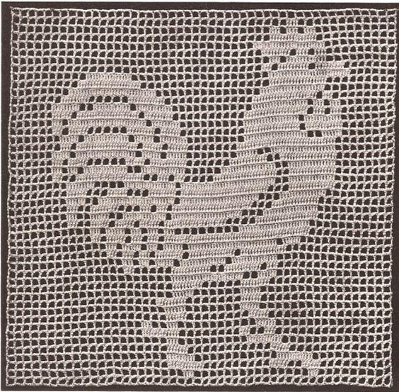 Crochet Filet Patterns Free Animals : Details about Vintage Crochet PATTERN to make Filet ...