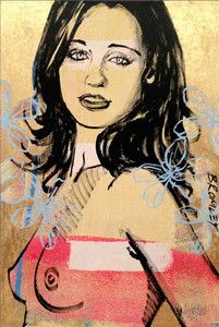 """DAVID BROMLEY Nude """"Gillian With Flowers"""" Polymer & Gold Leaf on Canvas, 90cm x 60cm, Signed: Middle Right"""
