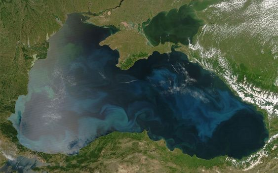 This image shows a colorful bloom of phytoplankton throughout the Black Sea on June 4, 2008, along the southern coast near the Turkish cities of Sinop and Samsun. The natural-color image was captured by the MODIS instrument on NASA's Aqua satellite. (NASA/MODIS Rapid Response Team) #
