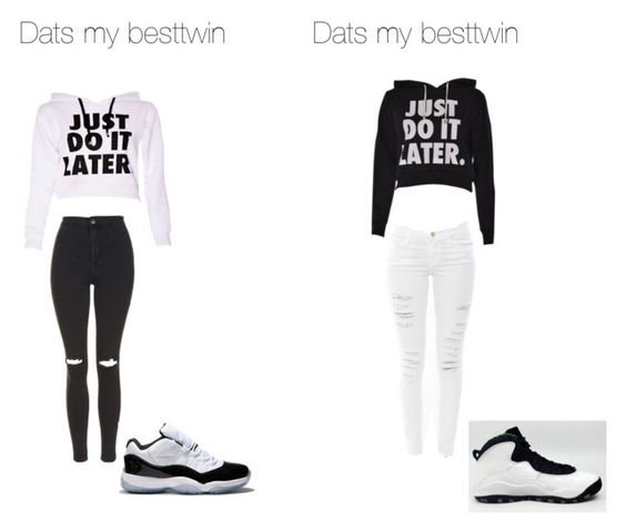 """Besttwin"" by queencraz ❤ liked on Polyvore featuring Frame Denim, Topshop, Concord and NIKE"