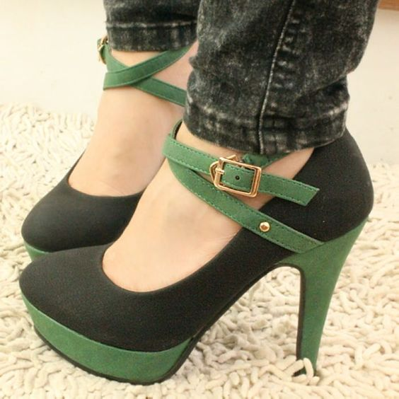 hot sale free shipping shoes woman Korean fashion mixed colors fine with cross straps sexy high heels shoes-in Pumps from Shoes on Aliexpress.com