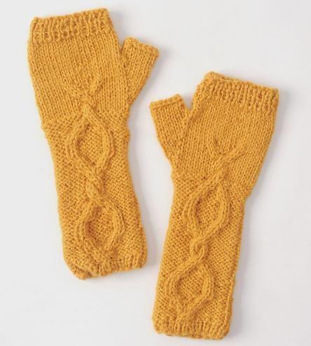 Cable-Knit Alpaca Glovelets, Yoke