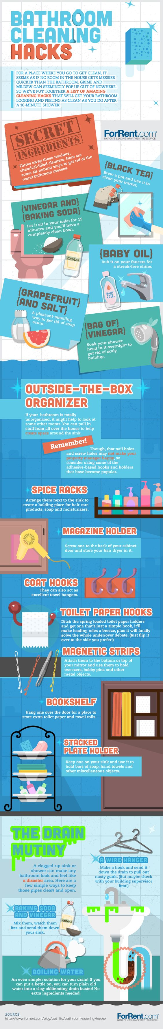 Bathroom cleaning hacks to help you make your bathroom squeaky clean!: