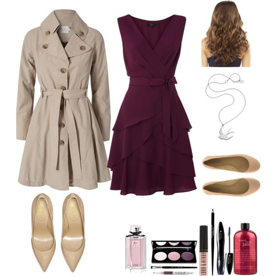 """""""Nude & Berry Date Night Outfit"""" by natihasi on Polyvore Different shoes are a must."""