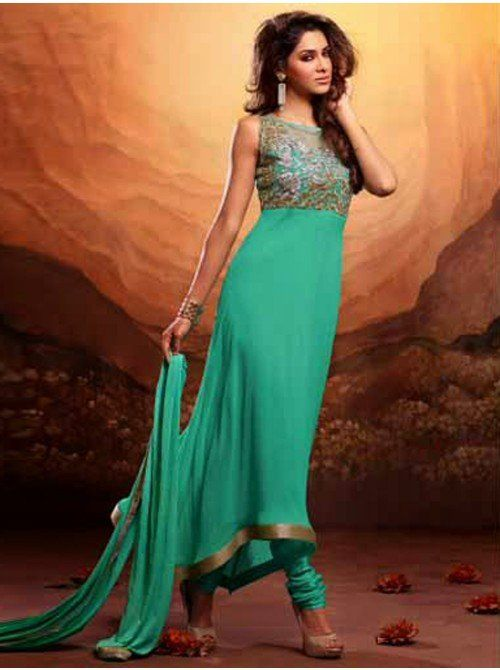 Buy Sea Green Georgette Anarkali Suit With Heavy Zari Embroidery And Kundan Work Designer Mannat Collection Online In India - saree.com