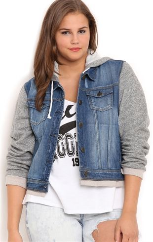 Deb Shops Plus Size YMI Black Denim Jacket with Knit Sleeves and