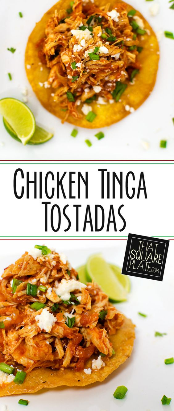 I adapted Food & Wine's Chicken Tinga Tacos and made some tostadas! They were absolutely delicious -- spicy like I like 'em!
