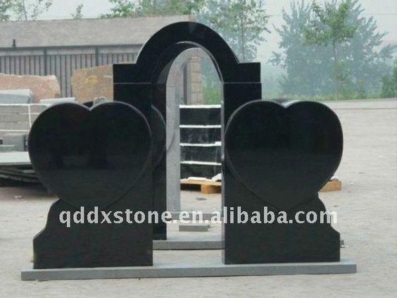 double heart black granite headstone $123.6~$256.3
