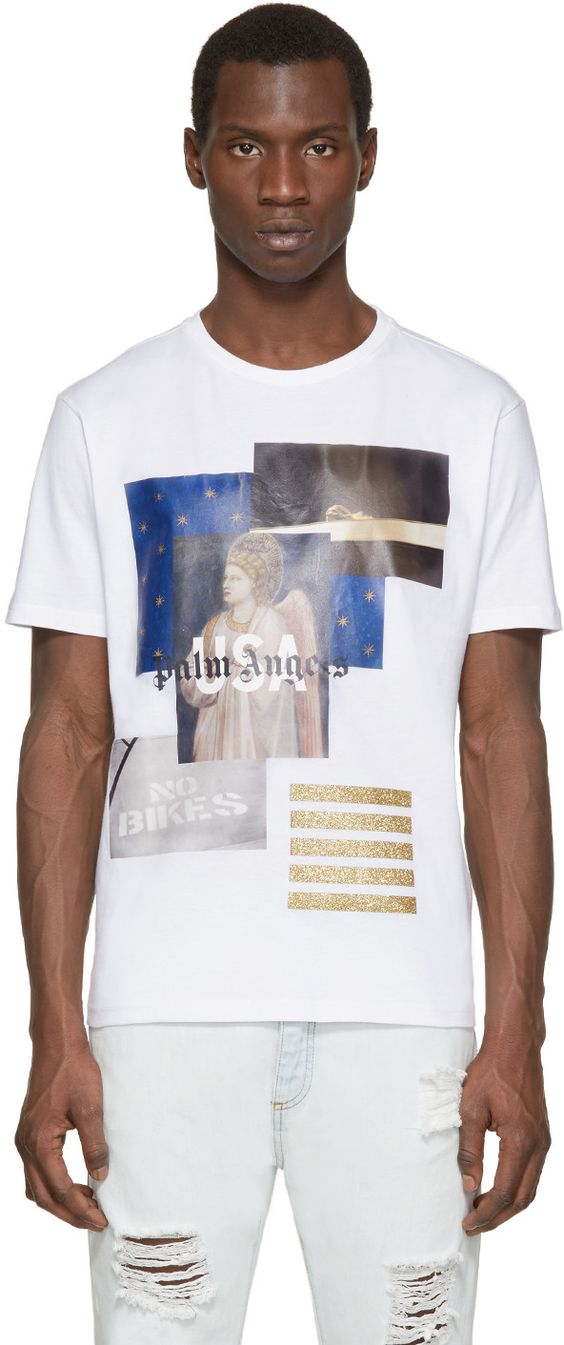 Palm Angels White Graphic T-Shirt