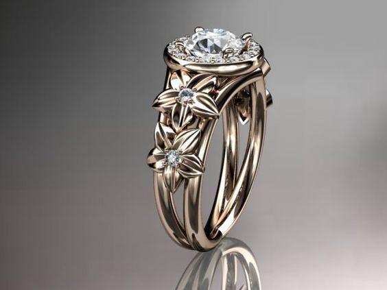 14kt Rose Gold Diamond Floral Wedding Ring Engagement Ring ADLR131