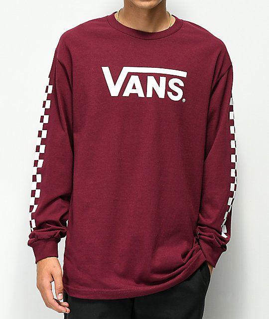 Vans Classic Checkerboard Burgundy Long Sleeve T Shirt