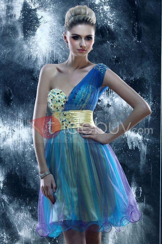 立派なワンショルダーミニ-丈 ラッフルプロム/ホームカミングドレス