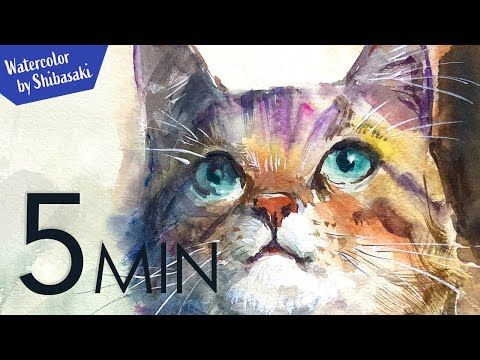 Eng Sub 5min Easy Watercolor Cute Kitty Face Youtube Easy