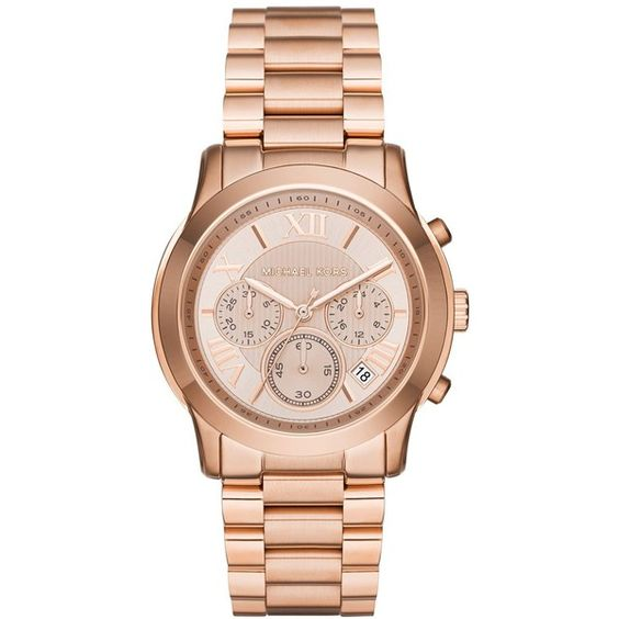 Michael Kors Women's Chronograph Cooper Rose Gold-Tone Stainless Steel... ($250) ❤ liked on Polyvore featuring jewelry, watches, rose gold, bracelet watch, stainless steel wrist watch, roman numeral watches, chronograph watch and chronograph watches
