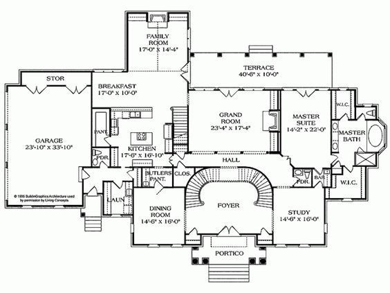 Eplans NeoClassical House Plan Pillared Portico 5717 Square