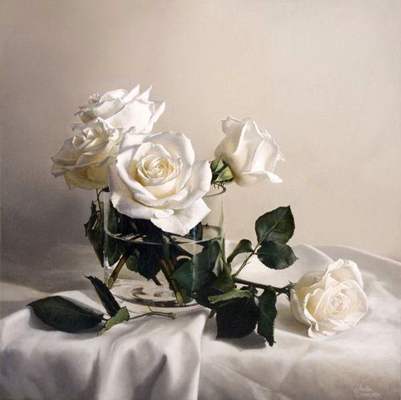 Morning Roses - Vadim Klevenskiy - oil on canvas