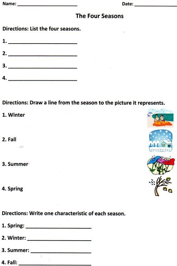 The Four Seasons Assessment For K 1 Seasons Worksheets 1st Grade Worksheets First Grade Worksheets