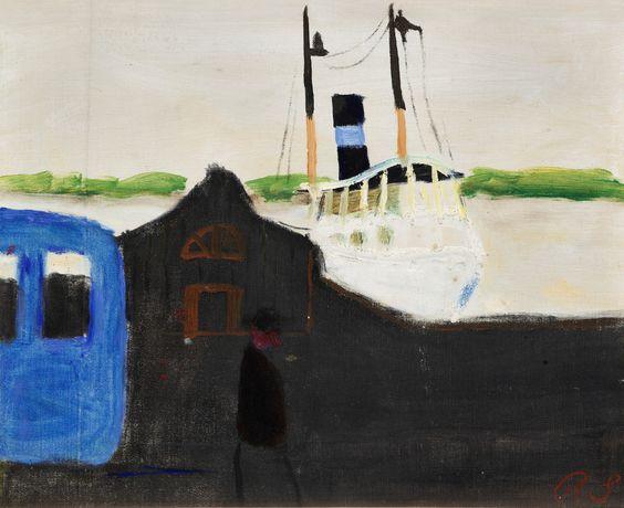 thunderstruck9:  Ragnar Sandberg (Swedish, 1902-1972), Ångbåtsbrygga Lilla Bommen, Göteborg [Jetty, Lilla Bommen, Gothenburg]. Canvas, 30 x 37.5 cm.