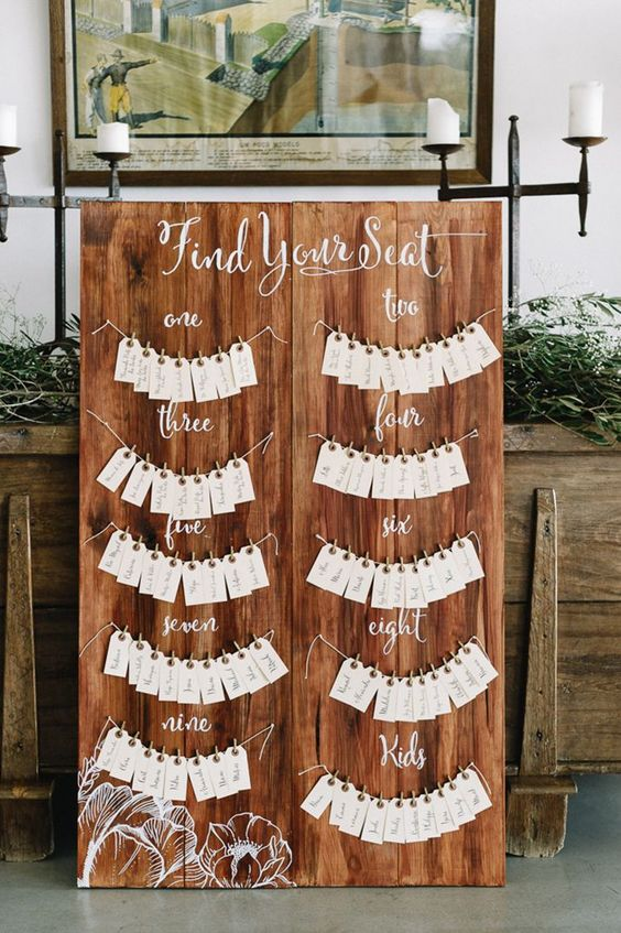 Love this unique idea for displaying escort cards.