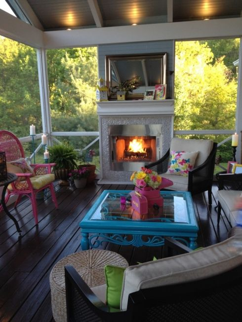 Fireplaces love the and the fireplace on pinterest for Screened in porch fireplace ideas