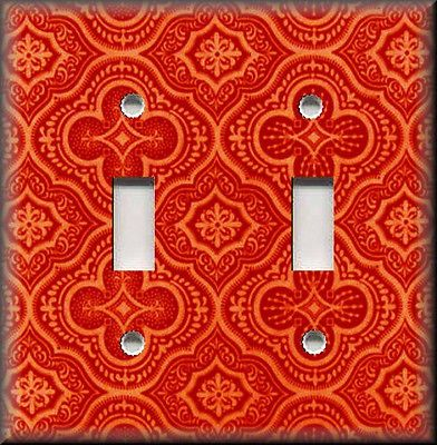 Light Switch Plate Cover - Morracan Tile Pattern - Coral - Boho Home Decor