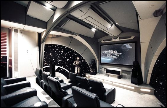 Home theater designed to appear like the command deck of the Death Star from The Empire Strikes Back.