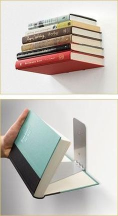 Invisible bookshelf. Not sure if the last book would have an imprint though?: