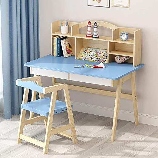 Techecho Kids Desk With Chair Wooden Children S Desk Bedroom Student Desk Children Rsquo S Media Desk A Childrens Desk Desk And Chair Set Kids Table And Chairs Child desk and chair set
