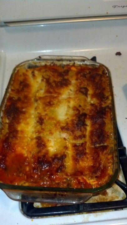 My fiances moms lasagna :) 1pkg lasagna noodles 1pkg sliced mushrooms ...