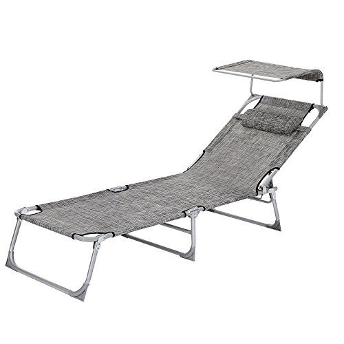 Songmics Bain De Soleil Inclinable Chaise Longue Transat Pliable Et Pare Soleil Reglable 193 62 30 Cm Charge Parasol Inclinable Bain De Soleil Chaise Longue