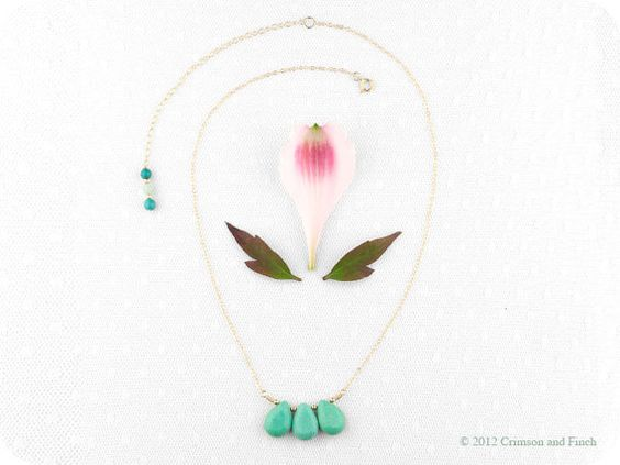 Gold turquoise gemstone necklace ' Miss Minty' by crimsonandfinch, €28.50