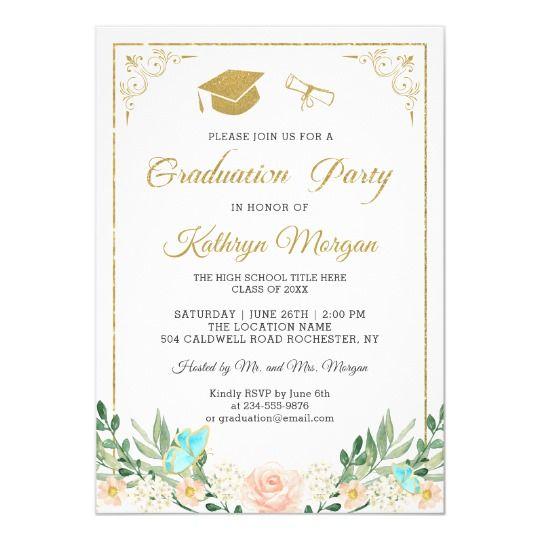 Blush Peach Floral Gold Glitter Photo Graduation Invitation Zazzle Com Photo Graduation Invitations Graduation Invitations Glitter Photo