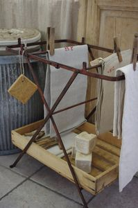 laundry room  cool idea. would look great wi vintage table cloths as an accent piece in the dining room