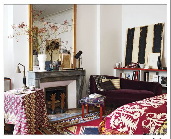 Bohemian Style Bedroom In Garnet Red And Plum Purple