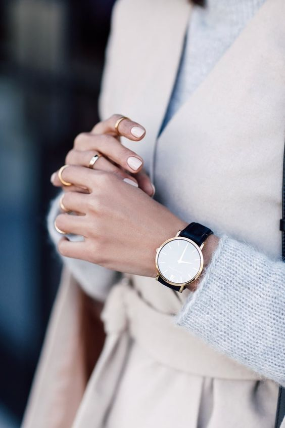 wrap coat, pastel pink nails, midi ring set, grey knit and round watch with black strap #style #fashion #jewelry #accessories: