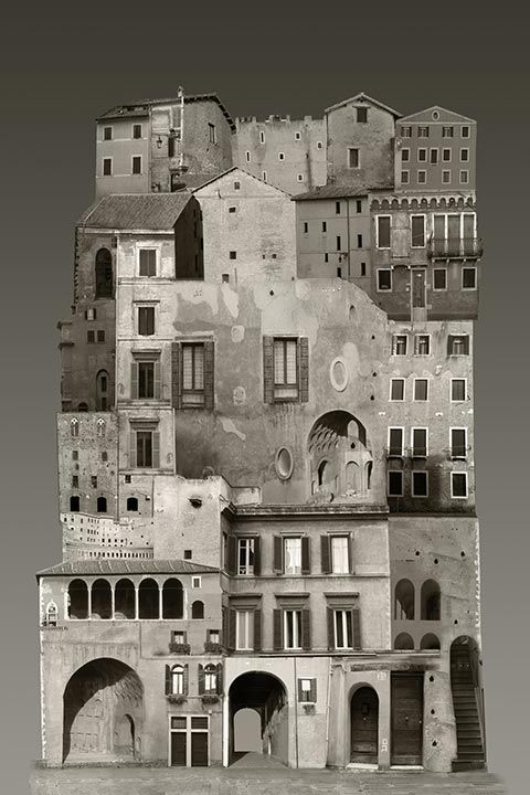 INTRIGUING COLLAGES OF DOMESTIC BUILDINGS CAPTURE THE SPIRIT OF THE EUROPEAN CITY