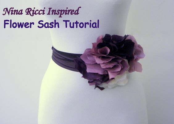 Ruby Mines: DIY Tutorial: Nina Ricci Inspired Flower Sash: Diy Flowers, Diy Fashion, Diy Crafts, Sewing Crafts, Sewing Ideas Tips, Craft Fabric Flowers, Flowers Ideas, Crafts Sewing, Flower Belt