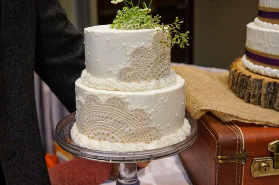 Lace Wedding Cake with Green Flowers!