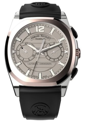 Armand Nicolet J09 Stainless Steel & 18k Rose Gold Chronograph Ref. D654AAA-GR-GG4710N-LD